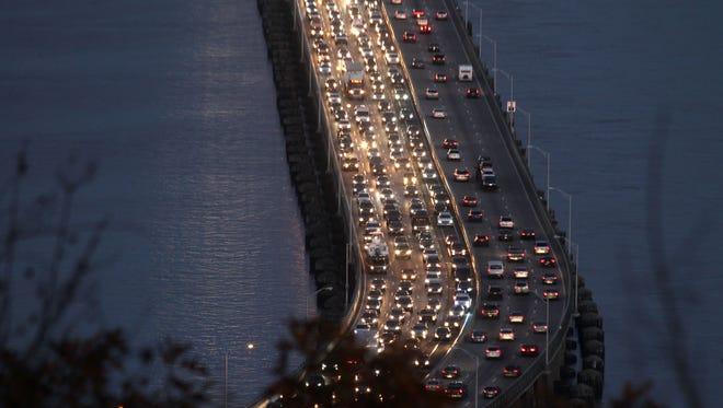 Friday night traffic slowly crosses the Tappan Zee Bridge Nov. 18, 2016.