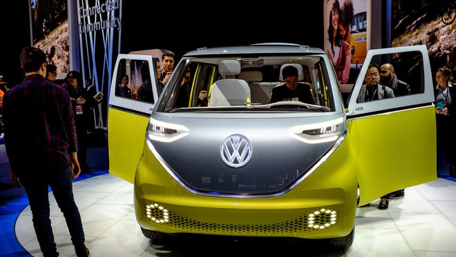 The Volkswagen ID.Buzz concept car at the 2017 North American International Auto Show in Detroit.