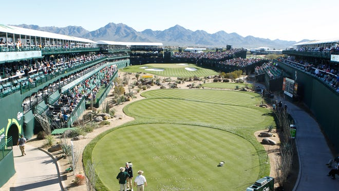 The 16th hole at TPC Scottsdale from behind the tee box, looking towards the green.