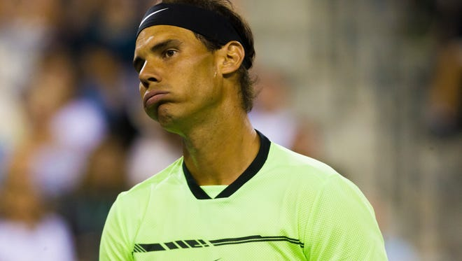 Rafael Nadal is photographed during his debut for the 2017 BNP Paribas Open.