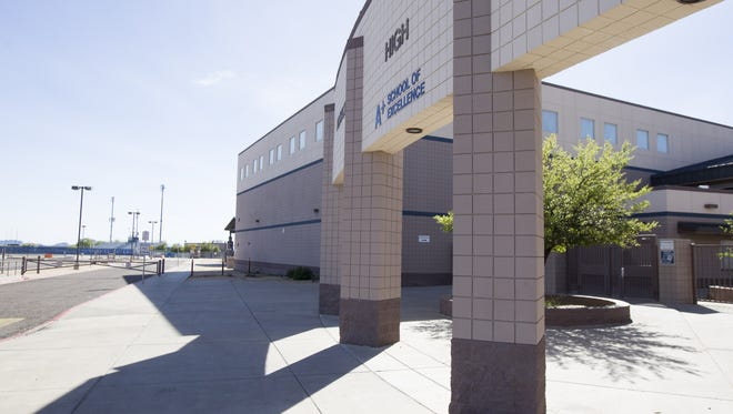 "Facilities at Pinnacle High School in Phoenix are pictured on March 26, 2017. Swastikas, the words ""white power"" and other words were discovered painted on walls at the school morning prior."