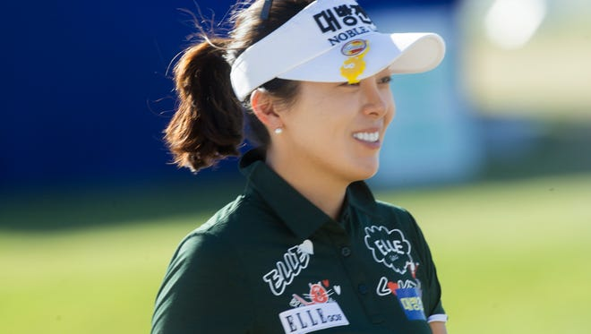 Mi Jung Hur on the 18th hole during the third round of the 2017 Ana Inspiration golf tournament at Mission Hills Country Club in Rancho Mirage on April 1, 2017.