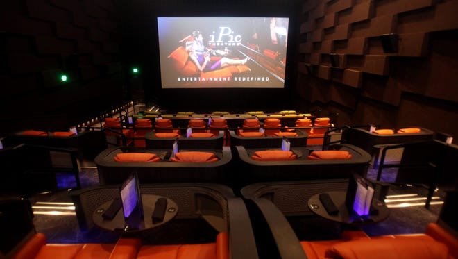 One of the screens at iPic, the new movie theater at Rivertowns Square in Dobbs Ferry.