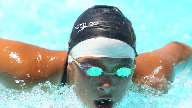 Juliana Taboada of Desert Hot Spring High School swims the butterfly stroke during the 200 Yard Medley Relay during the De Anza League swim finals at Coachella Valley High School.