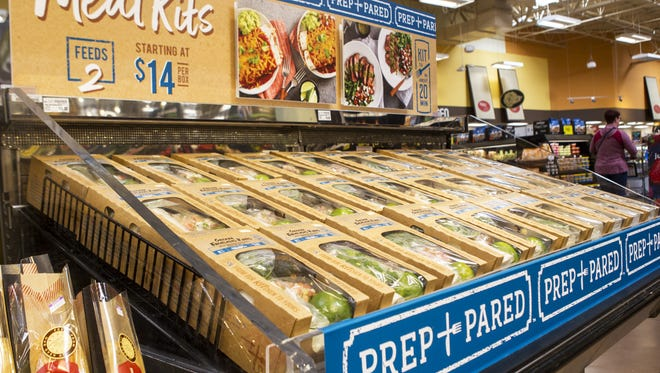 Prep+Pared meal kits are displayed Monday, May 7, 2017 at the Kroger Marketplace in Oakley. The meal kits start at $14 and feed two people.