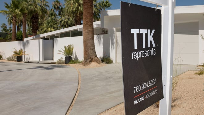 Real estate sign on for a house on the N Vista Vespero in Palm Springs, Friday, June 23, 2017.