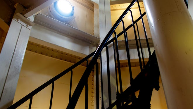 A metal spiral staircase leads to the top of the North Point Lighthouse in Milwaukee. Tours of the lighthouse are available.