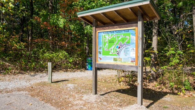 A large trail map was installed at Greig Park in St. Clair. The map is one of two signs that were installed in the park as part of the Blue Water Trail Master Plan, an effort to link communities with pathways for non-motorized traffic.