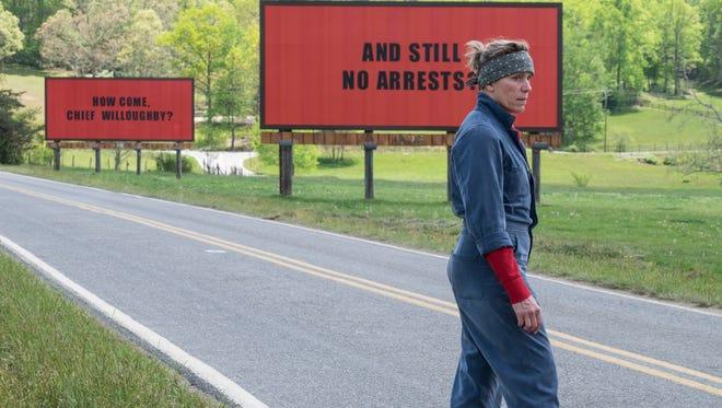 "Frances McDormand stars in ""Three Billboards Outside of Ebbing Missouri."""
