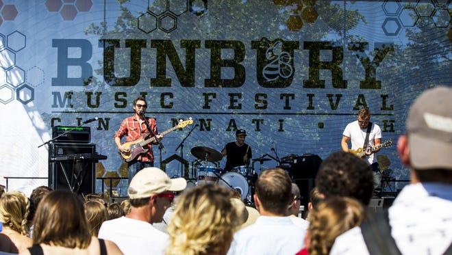 Civil Twilight plays on the CVG River stage at the Bunbury Music Festival Friday, June 2, 2017 in Cincinnati.