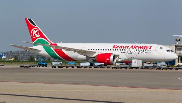 A Keinya Airways Boeing 787 'Dreamliner' is seen in