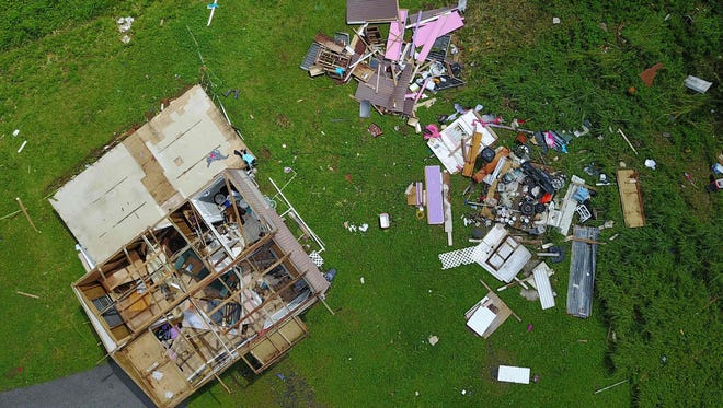 A house destroyed by hurricane winds is seen in Barranquitas, southwest of San Juan, Puerto Rico, on September 24, 2017 following the passage of Hurricane Maria.