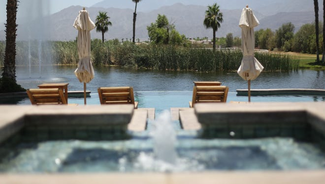 A view of the lagoon from the main house at Merv Griffin's 39-acre equestrian estate in La Quinta, Thursday, June 14, 2012.