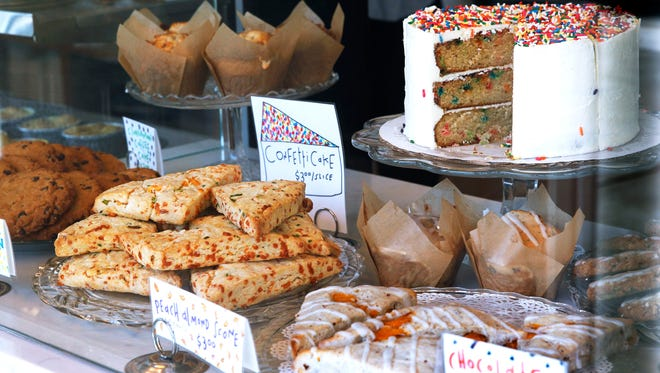 The pastry case at Batches bakery, 401 E. Erie St., holds items including scones, muffins, cookies and layer cake sold by the slice.