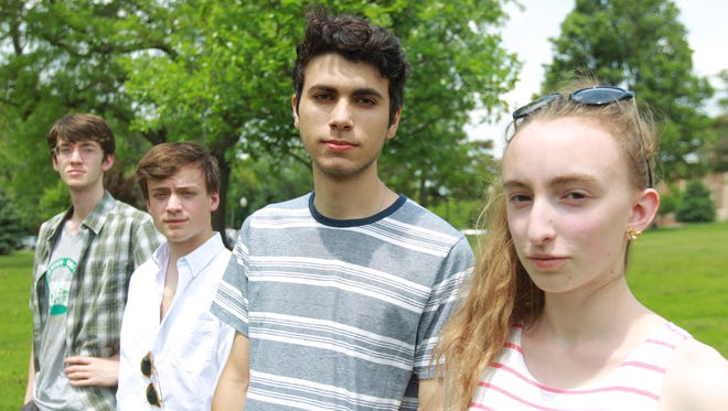 (From left) Shayna Jaskolka, Victor Kalil, Nick Pryor and Theo Prineas are soon-to-be-former members of the group Students Against School Shootings. The four are among the 12 City High and West High seniors who are graduating in May of 2018.