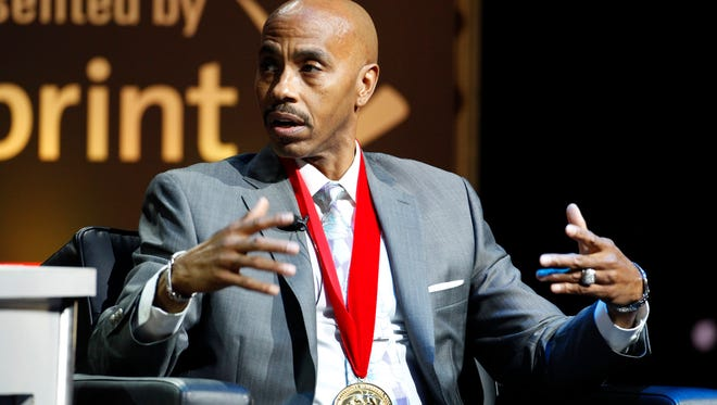 Former Louisville player Darrell Griffith talks about his career during a National Collegiate Basketball Hall of Fame induction event, Sunday, Nov. 23, 2014, in Kansas City, Mo. (AP Photo/Colin E. Braley)
