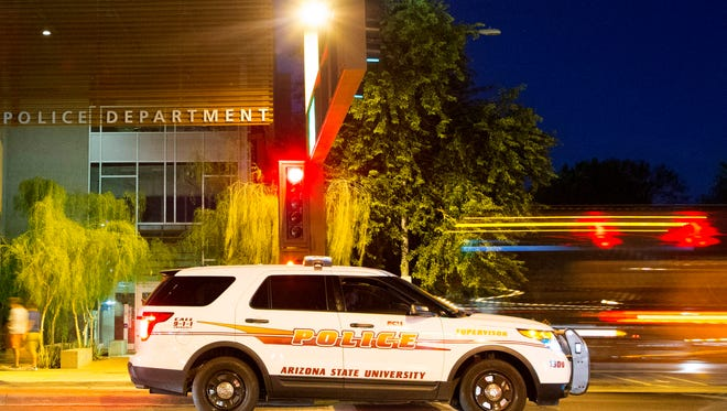 Exterior of the ASU Police Department on Apache Boulevard and College Avenue in Tempe.