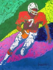 """Paul Brewer's sports sketch, """"The Field General,"""" may remind people of the sports art done by the late LeRoy Neiman, whom Brewer met and admired."""