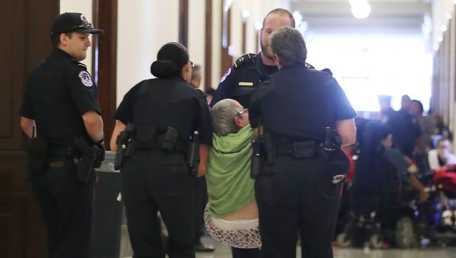Protest in Senate building in Washington in June 2017.