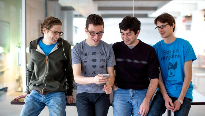 From left: Tyler Murphy, mobile designer; Luis von Ahn, CEO and co-founder; David Klionsky,  iOS developer; Severin Hacker, CTO and co-founder
