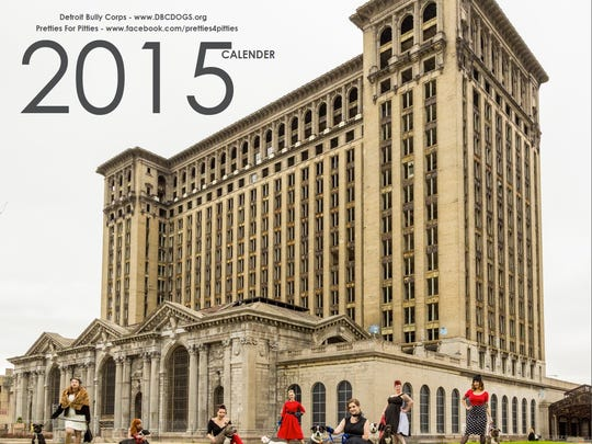Detroit Bully Corps features models and pit bulls inside its 2015 calendar.