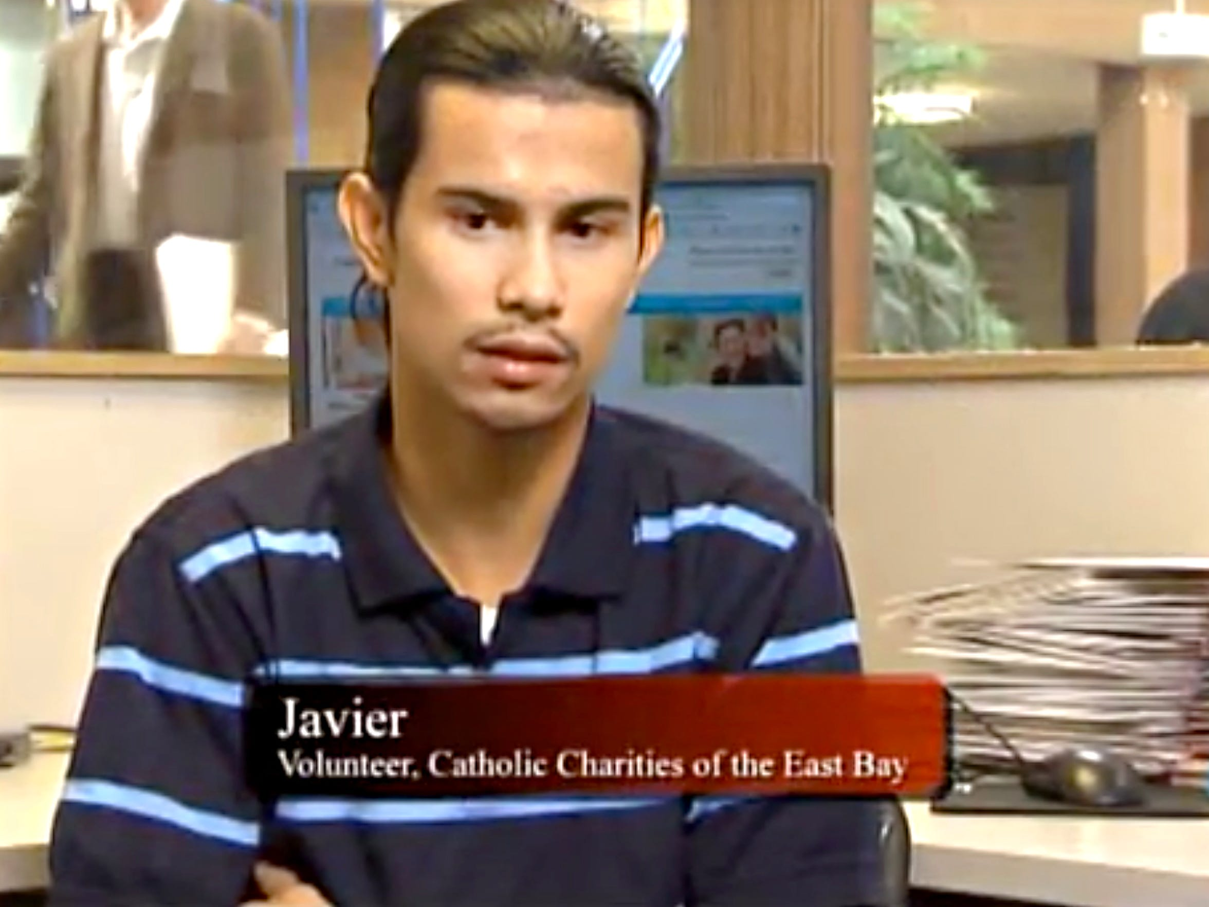 Javier Arango spent years in a gang after a 2006 shooting left him paralyzed and angry. A few years ago, he decided to quit the gang lifestyle and got help finding work through Catholic Charities of East Bay. Here, he's pictured in a promotional video from the organization. Arango is one of nine gunshot survivors featured in Aftermath, an eight-episode podcast about gun violence in America.