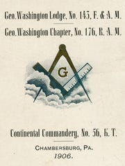 This is a pocket sized schedule of the Masonic meetings that were held in Chambersburg's Masonic Temple in 1906.