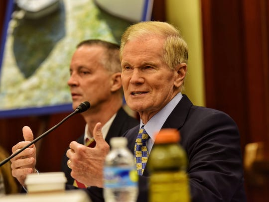 Sen. Bill Nelson speaks during the Lagoon Action Day
