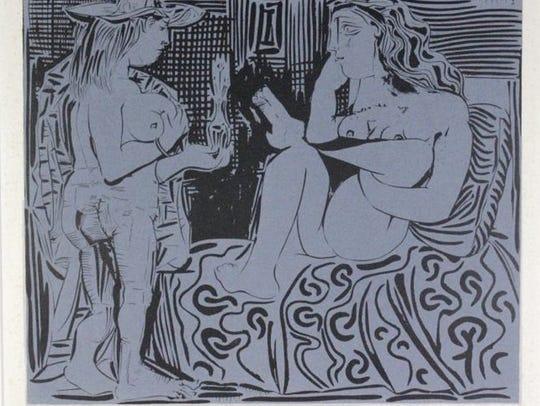 Pablo Picasso, Deux Femmes (Two Women), 1962, linocut.
