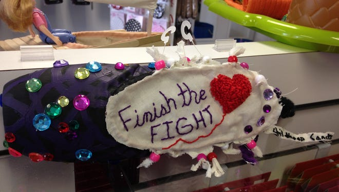 """""""Finish the fight -- childhood cancer"""" pointe shoe"""