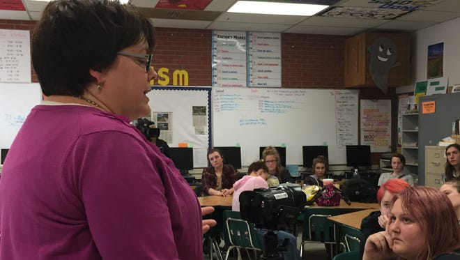Beth Britton, journalism teacher at CMR, talks about the new video camera she received for her classes thanks to a grant from the Great Falls Public Schools Foundation.
