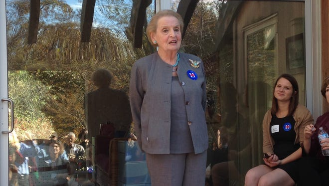 Former Secretary of State Madeleine Albright speaks on behalf of Hillary Clinton on Wednesday at the West Des Moines home of Cyril and John Mandelbaum.