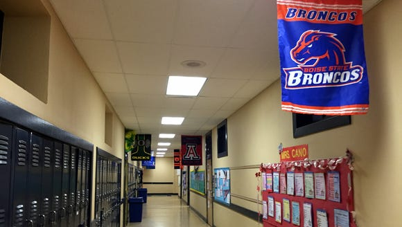 College banners decorate the Johanna O'Donnell Intermediate