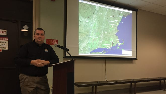 Michael Horne, a wildlife refuge manager for the U.S. Fish & Wildlife Service, speaks at a meeting of the Dover town board about plans to acquire as many as 1,500 acres in Dutchess County as part of a larger national wildlife refuge on Wednesday, Feb. 24.