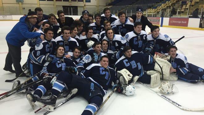 CBA hockey celebrates its 2-1 semifinals overtime win against Don Bosco Thursday, March 3.