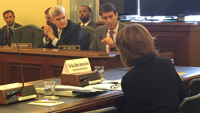 Republican Sen. Bill Cassidy (second from left) and Rep. Garret Graves, R-La.,  question Maria Contreras-Sweet, administrator of the Small Business Administration, Thursday at a Senate committee hearing on the impact of flooding in Louisiana.