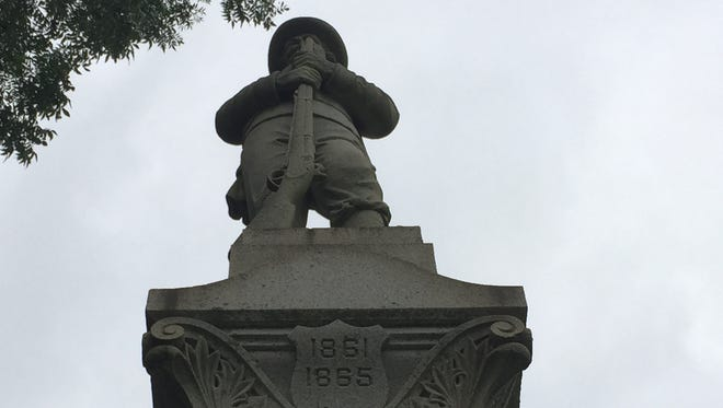 The Confederate monument in Parksley, Virginia on Wednesday, Aug. 16, 2017. The monument was unveiled on Oct. 20, 1899.