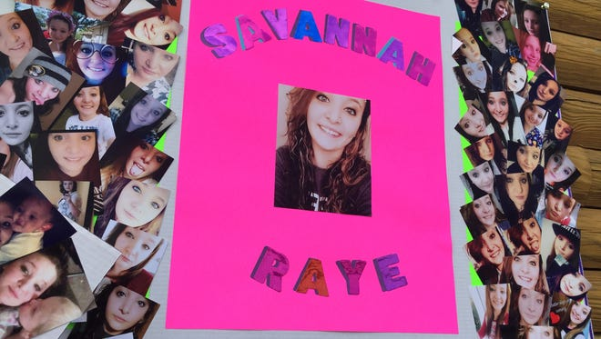There were several photo collages at the memorial service for Savannah Hill, who died Monday, May 7, after being shot during a traffic stop two days prior.