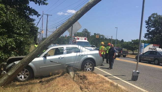 One person was reported injured in a single-vehicle crash Thursday on West Sherman Avenue in Vineland. July 12, 2018