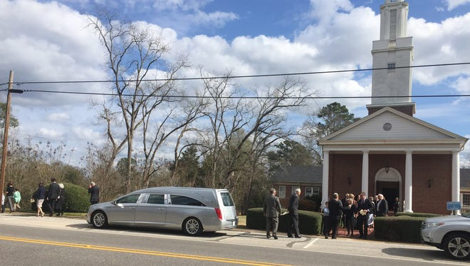"Friends and family of author Harper Lee leave the First United Methodist Church after a private funeral service, Saturday, Feb. 20, 2016, in Monroeville, Ala.  Lee, the elusive author of best-seller ""To Kill a Mockingbird,"" died Friday, Feb. 19, according to her publisher Harper Collins. She was 89."