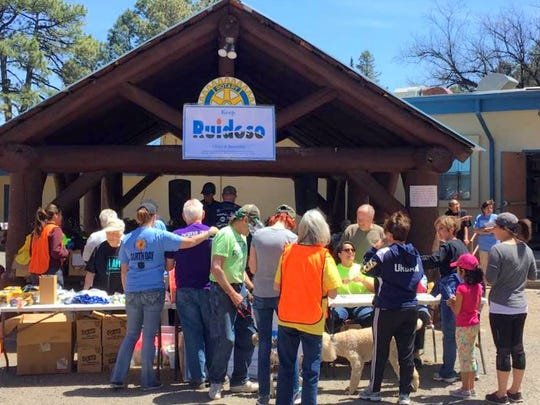 After a morning of cleaning up Ruidoso, volunteers