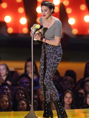 Shailene Woodley accepts the best female performance award at the MTV Movie Awards on April 12, 2015, in Los Angeles.