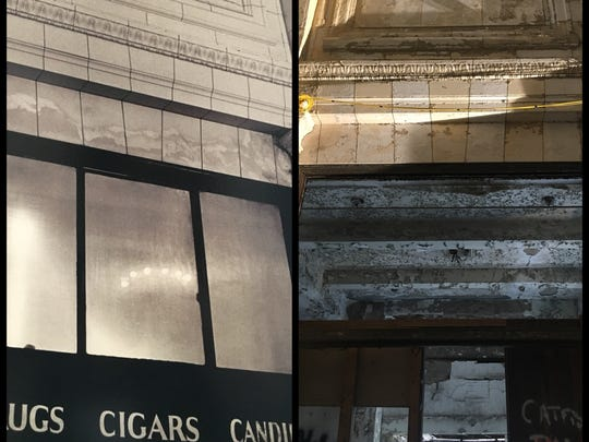 The Arcade cigar shop in 1983 and now.