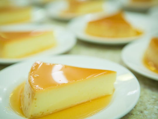The paella dish was followed by a delicious dessert of flan.