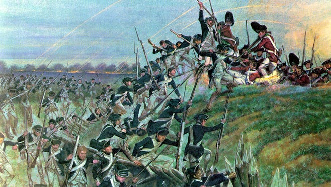 A painting by H. Charles McBarron shows American troops attacked the redoubt at Yorktown in 1781.