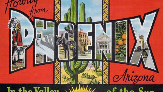 A postcard touts Phoenix's location in the Valley of the Sun.