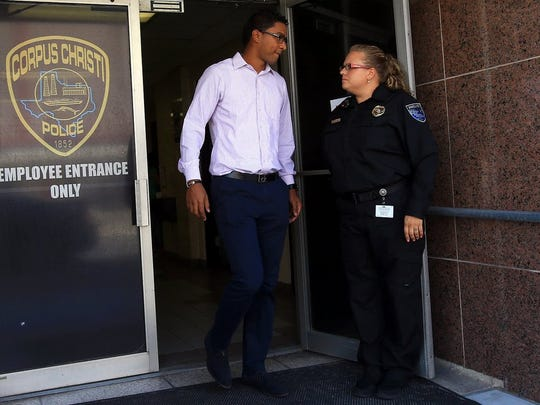 GABE HERNANDEZ/CALLER-TIMESFormer Hooks outfielder Danry Vasquez leaves the Corpus Christi Police Department after a court hearing on Thursday, Aug. 18, 2016, in Corpus Christi. Municipal Court Judge Young Min Burkett refused to end a restraining order that bars former Hooks outfielder Vasquez from being around his girlfriend.