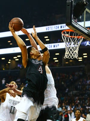 East Team center Skal Labissiere (4) goes up for a shot over a West Team player in the second half during the Jordan Brand Classic at Barclays Center.