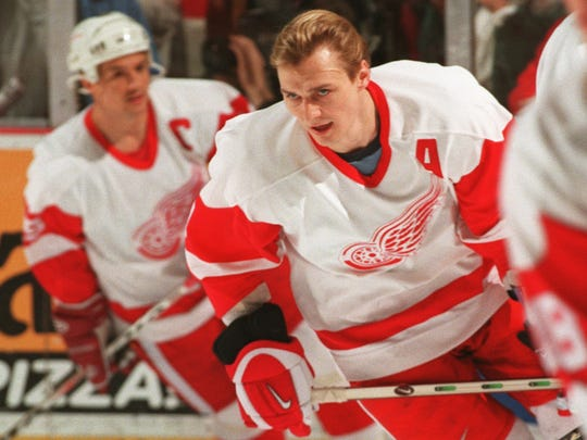 Detroit Red Wing Sergei Fedorov skates at Joe Louis Arena during warmups against the game with the Toronto Maple Leafs on April 3, 1997.