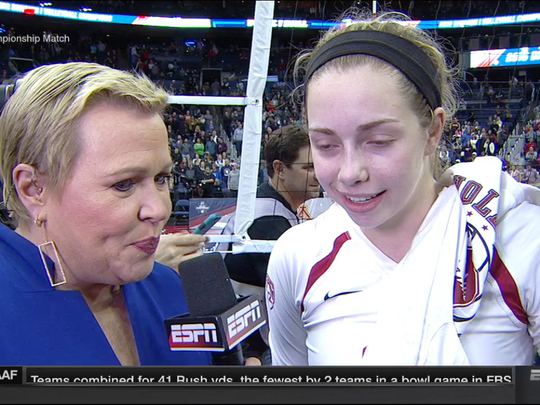 Morgan Hentz is interviewed by ESPN's Holly Rowe after the national championship win.